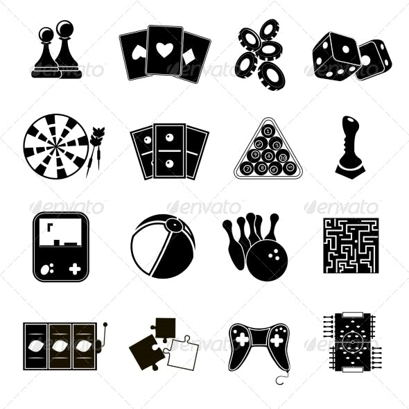Game Icons Set Black