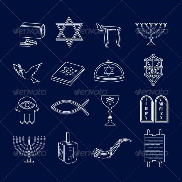 Judaism Icons Set Outline