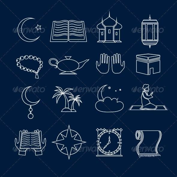 Islam Icons Set Outline - Web Elements Vectors