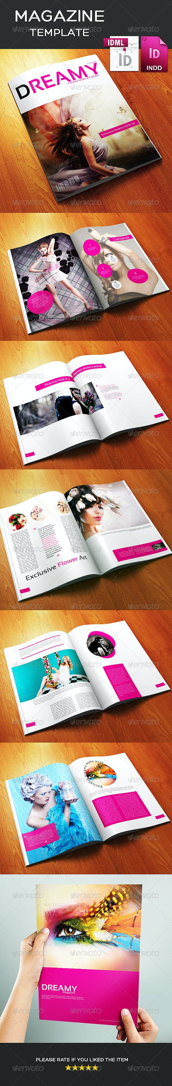 12 Page A3 Size Indesign Dreamy Fashion Magazine - Magazines Print Templates