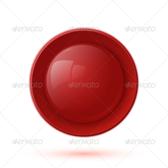 Red Glossy Button Icon Isolated on White Backgroun - Web Elements Vectors