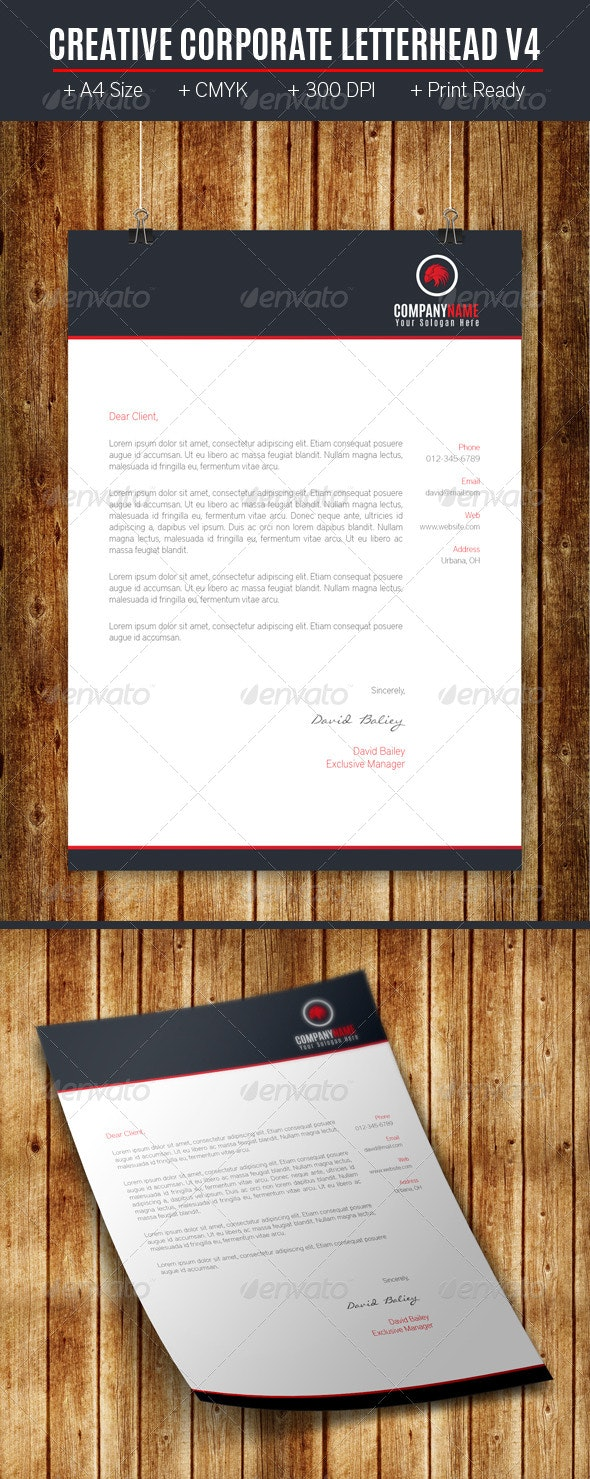 Creative Corporate Letterhead V4 - Stationery Print Templates