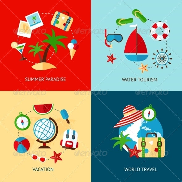 Holiday Icons Flat Set - Travel Conceptual