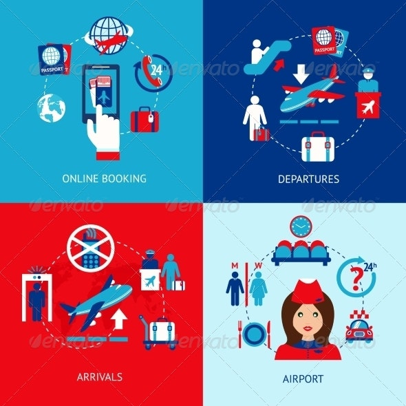 Airport Icons Flat Set - Travel Conceptual