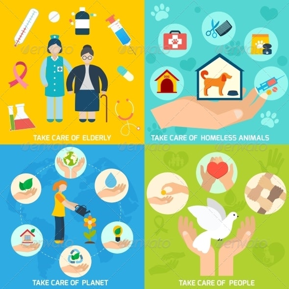 Charity Icons Set Flat - Concepts Business