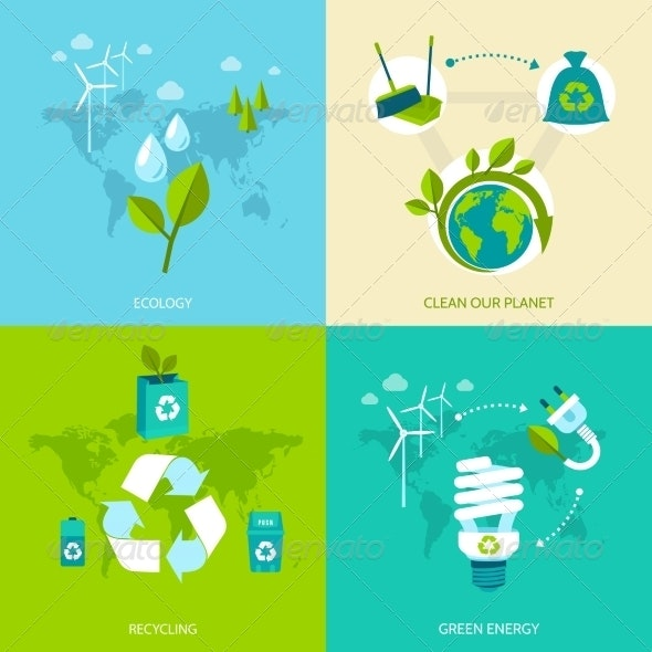 Ecology and Recycling Set - Industries Business