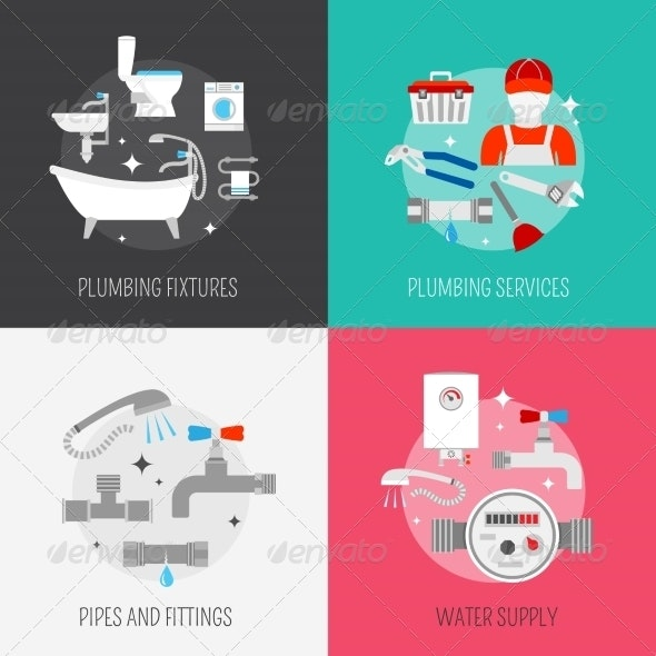 Plumber Icon Composition Set - Concepts Business