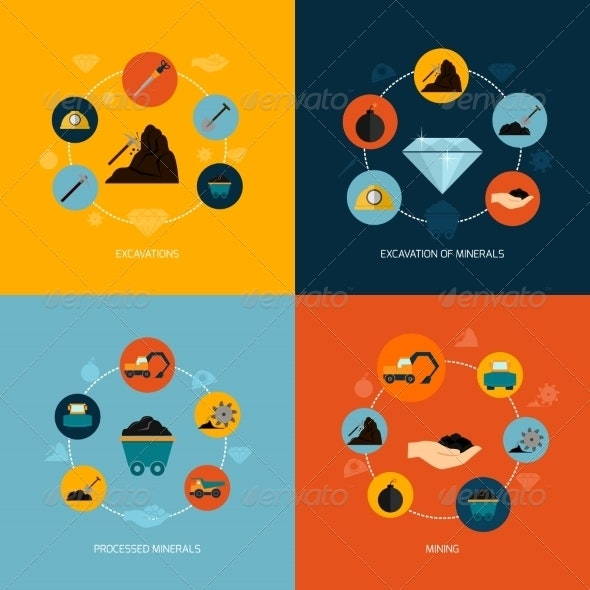 Mining Icons Flat Composition - Industries Business