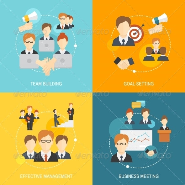 Teamwork Icons Flat - Concepts Business
