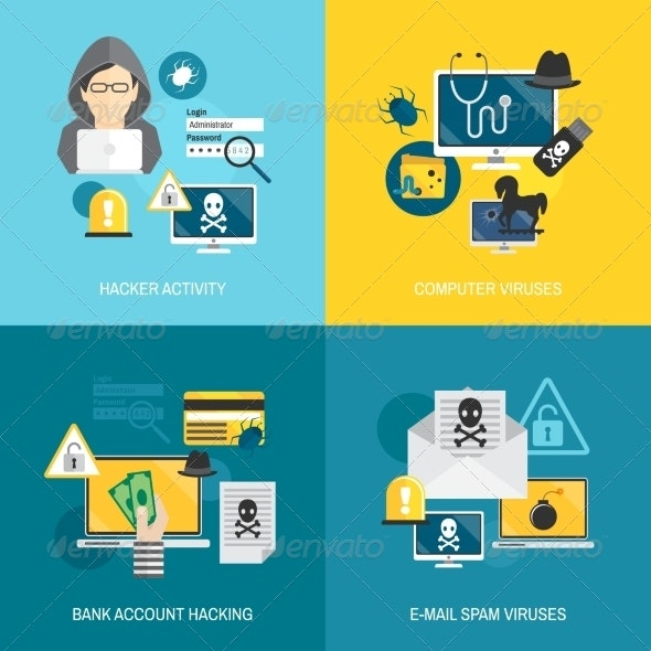 Hacker Icons Flat Composition - Concepts Business