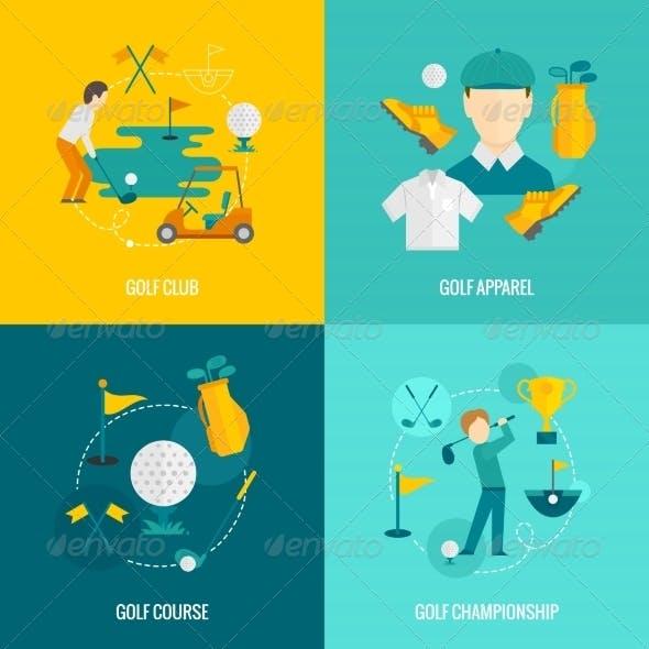 Golf Icons Flat