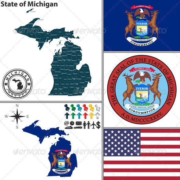 Map of State Michigan, USA - Travel Conceptual