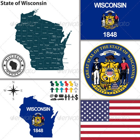Map of State Wisconsin, USA - Travel Conceptual