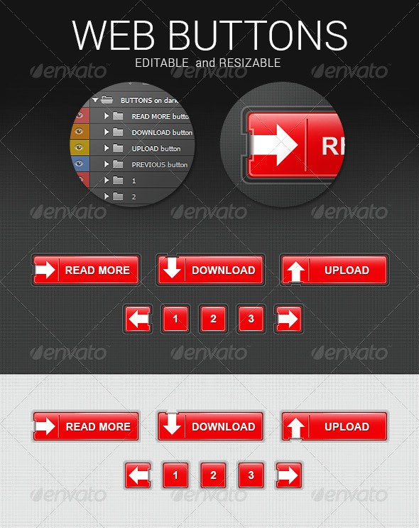 Red Web Buttons - Buttons Web Elements