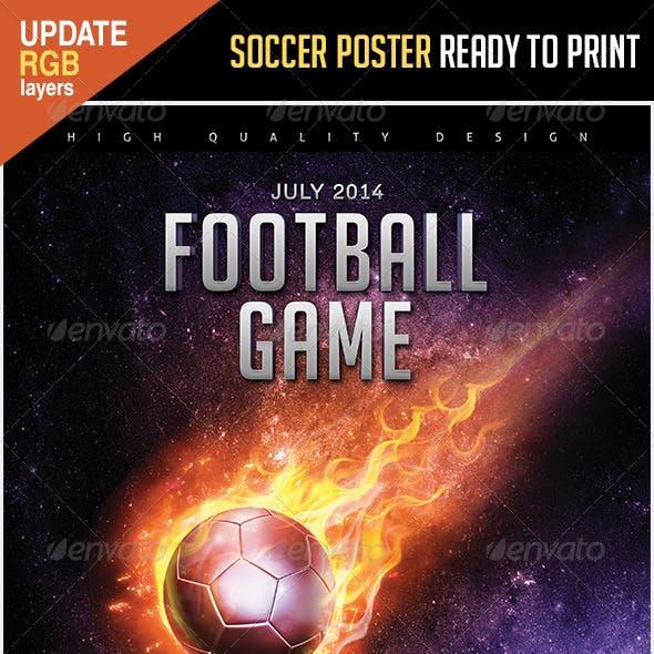 Soccer Poster Flames