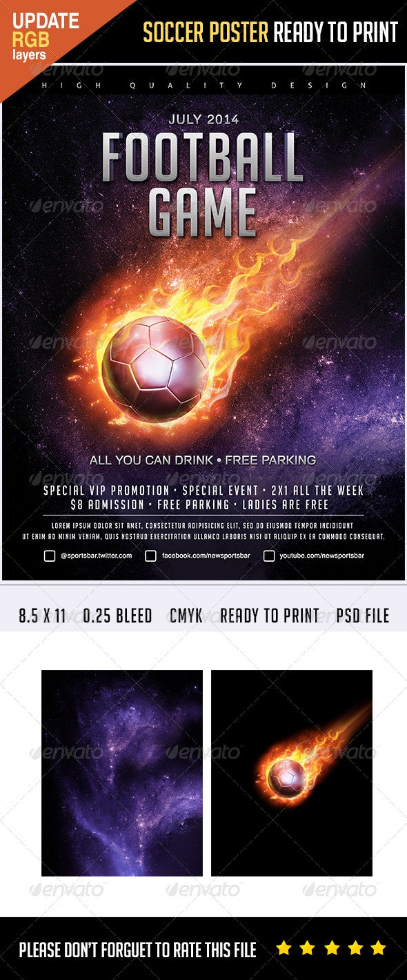 Soccer Poster Flames - Sports Events