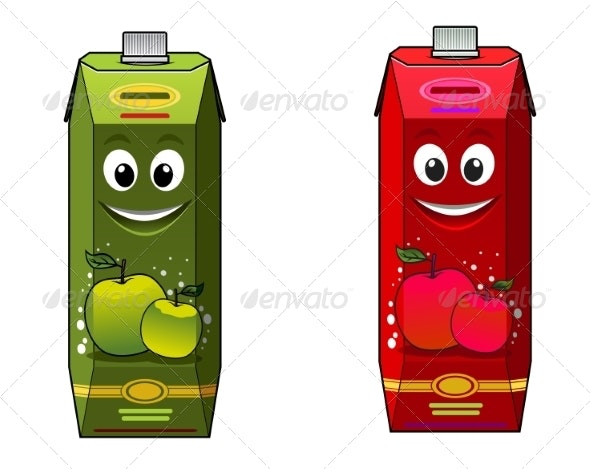 Cartoon Juice Boxes - Food Objects