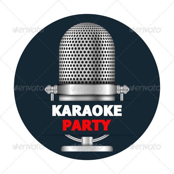 Karaoke Party Banner - Objects Vectors