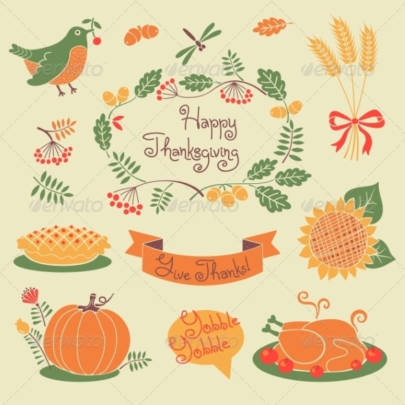 Happy Thanksgiving Set of Elements for Design. - Seasons Nature