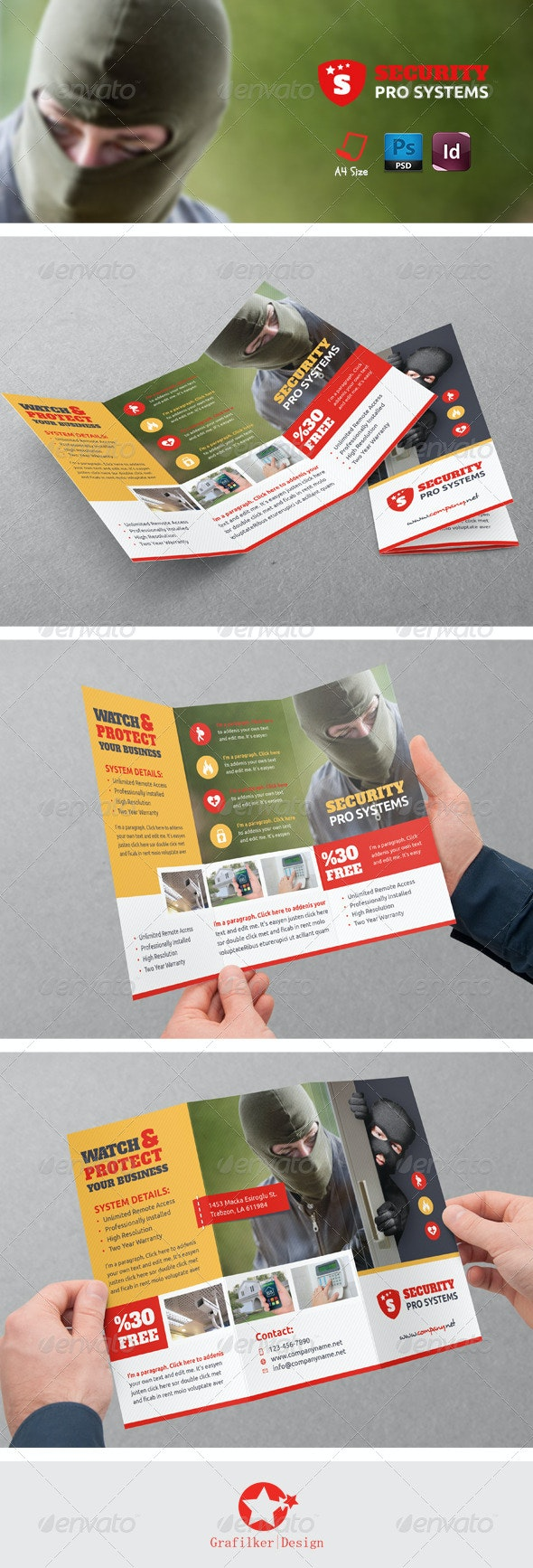 Security Systems Tri-Fold Templates - Brochures Print Templates