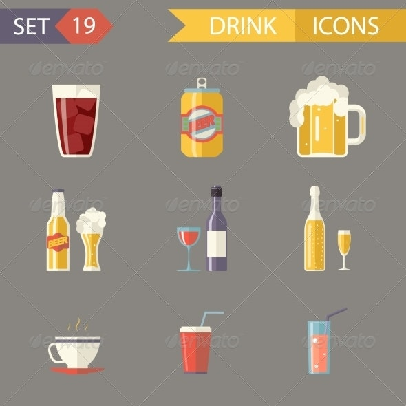 Retro Flat Alcohol Beer Juice Tea Wine Drink Icons - Food Objects