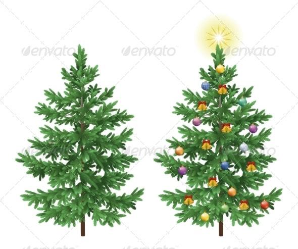 Christmas Spruce Fir Trees with Ornaments - Christmas Seasons/Holidays