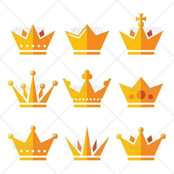 Gold Crown, Royal Family Icons Set - Miscellaneous Vectors