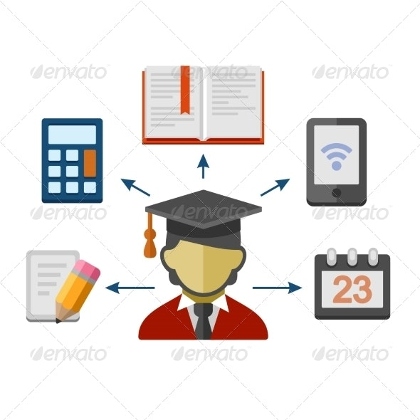 Set of Flat Style Concept Icons for Education - Web Technology