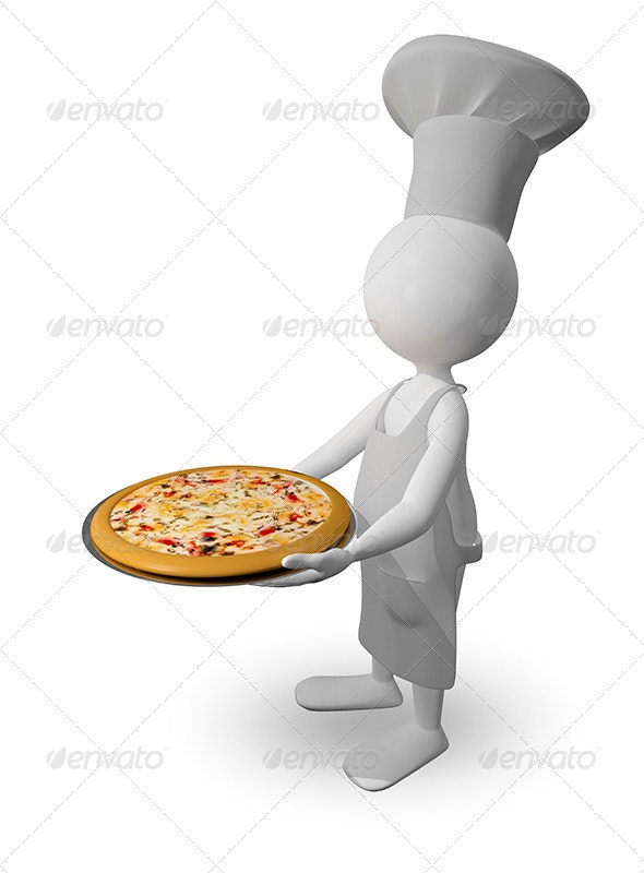 Chef with Pizza - Characters 3D Renders