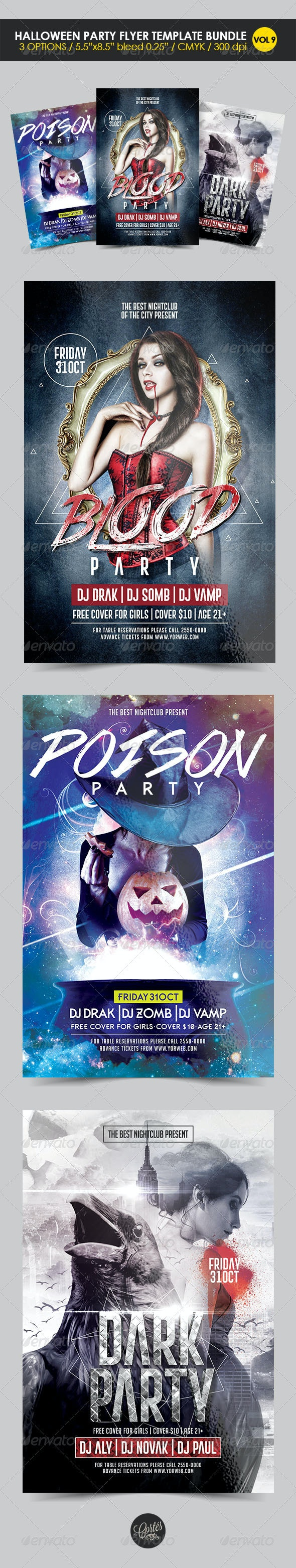 Halloween Party Flyer Template Bundle Vol. 9 - Holidays Events