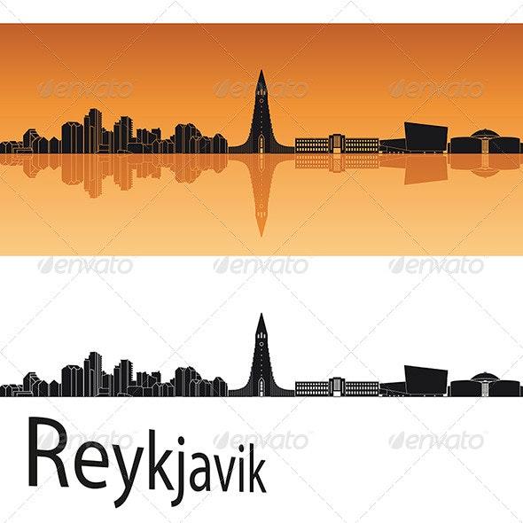 Reykjavik Skyline in Orange Background - Buildings Objects