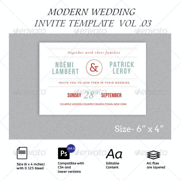 Simple Modern Wedding Invitation and RSVP Vol.03