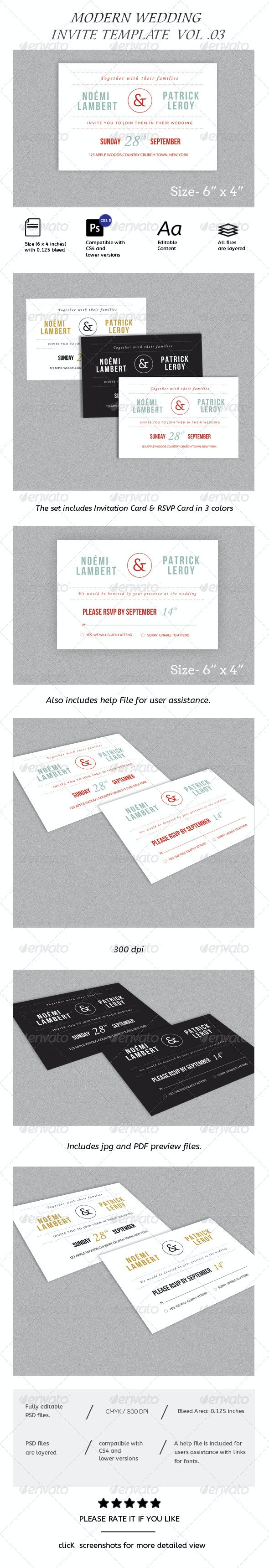 Simple Modern Wedding Invitation and RSVP Vol.03 - Weddings Cards & Invites