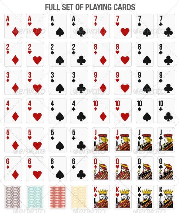 Set of 52 Playing Cards for Online Gaming - Sprites Game Assets
