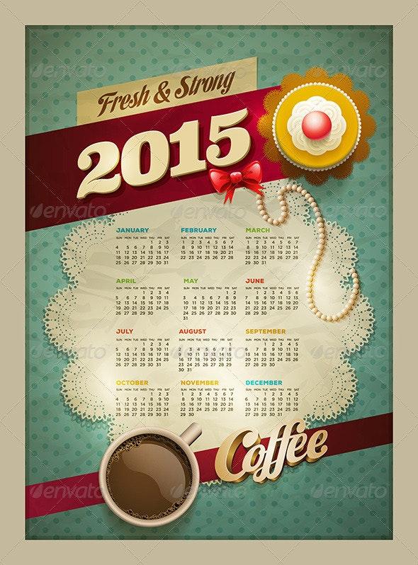Coffee & Cake Calendar Poster 2015  - Vectors