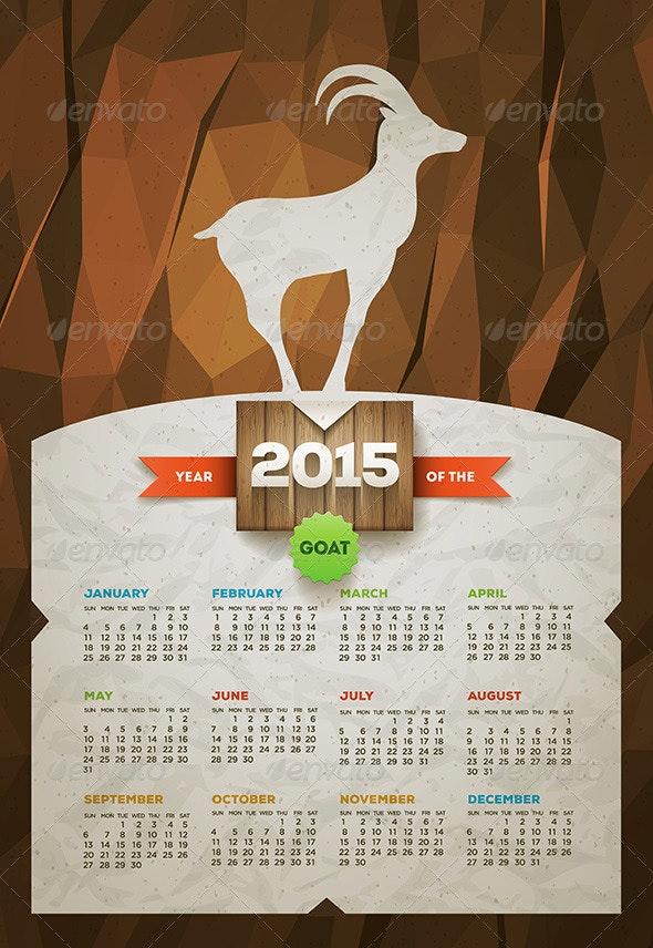 Year of the Goat 2015 Calendar - Vectors