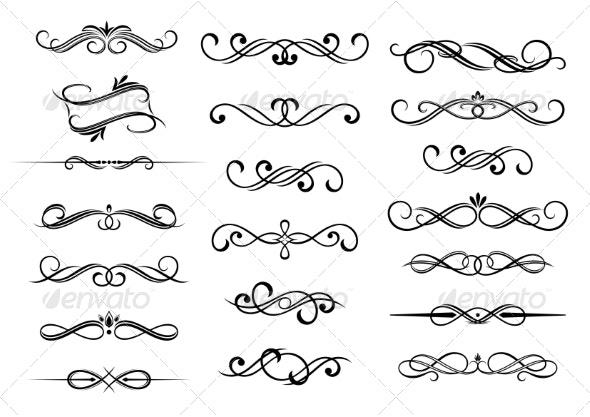 Border Calligraphic Elements Set - Borders Decorative