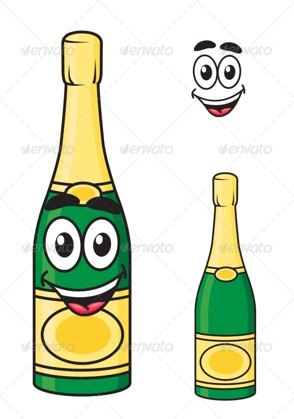 Cartoon Champagne or Sparkling Wine Bottle - Food Objects