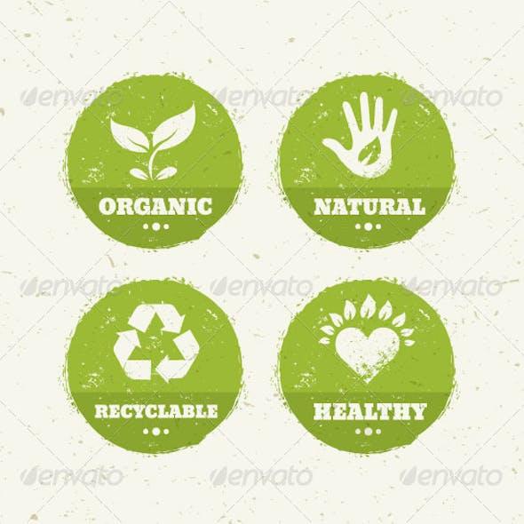 Organic Green Circle Creative Vector Icons