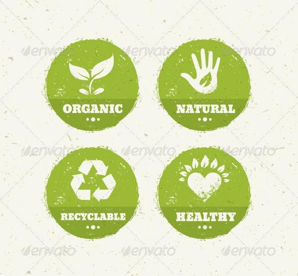 Organic Green Circle Creative Vector Icons - Conceptual Vectors