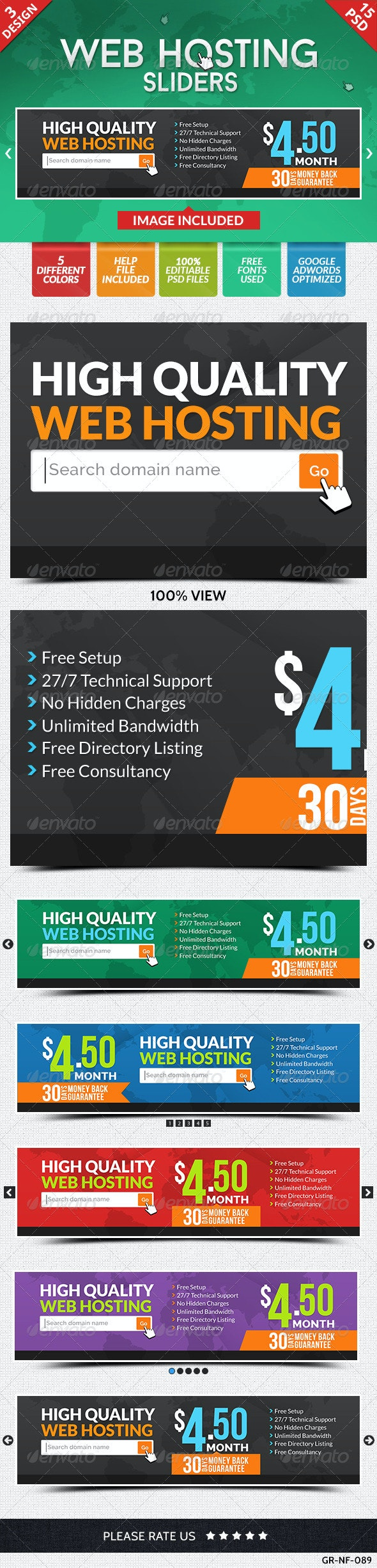 Web Hosting Sliders - 3 Designs - Sliders & Features Web Elements