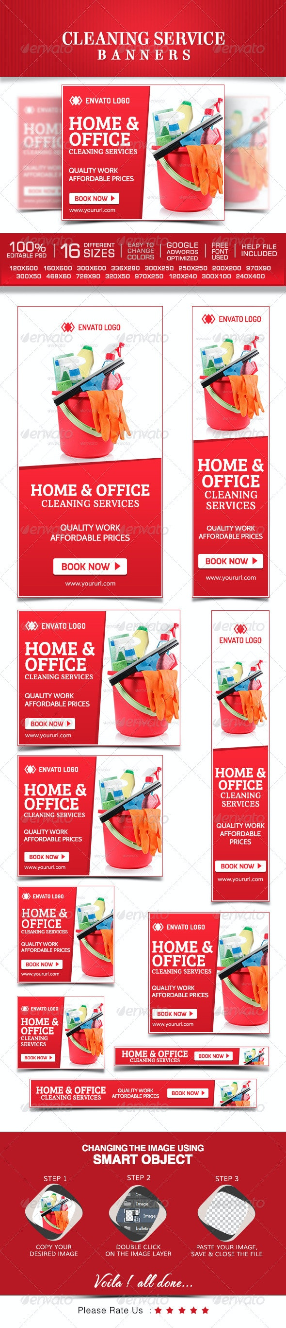 Cleaning Service Banner Design Set - Banners & Ads Web Elements