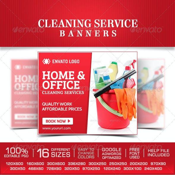 Cleaning Service Banner Design Set