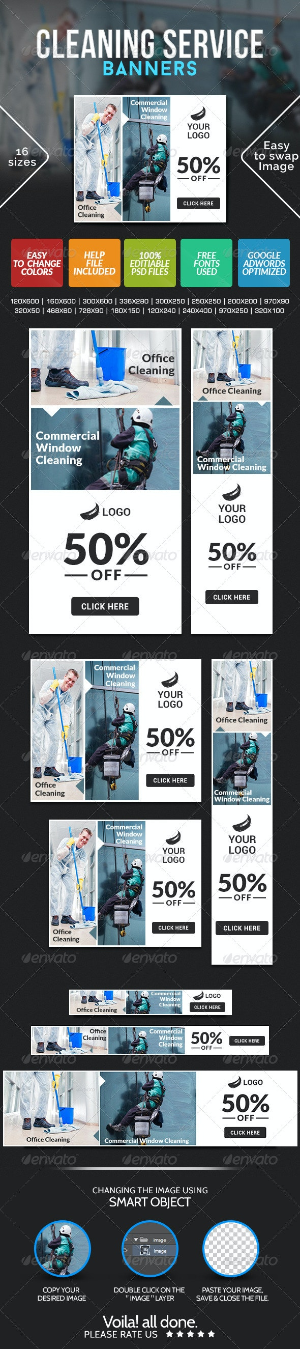 Banner Design for Cleaning Services - Banners & Ads Web Elements
