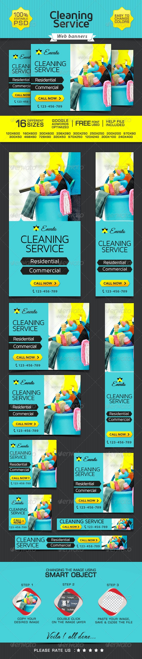 Banner Design for Cleaning Company - Banners & Ads Web Elements