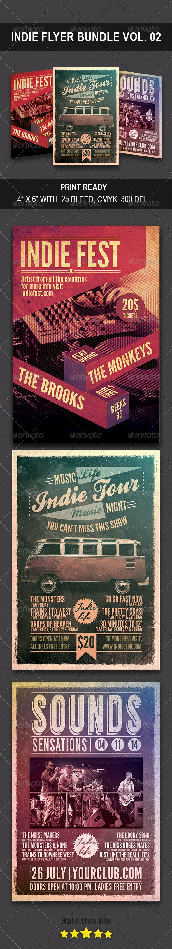 Indie Bundle Flyer Vol 0.2 - Flyers Print Templates