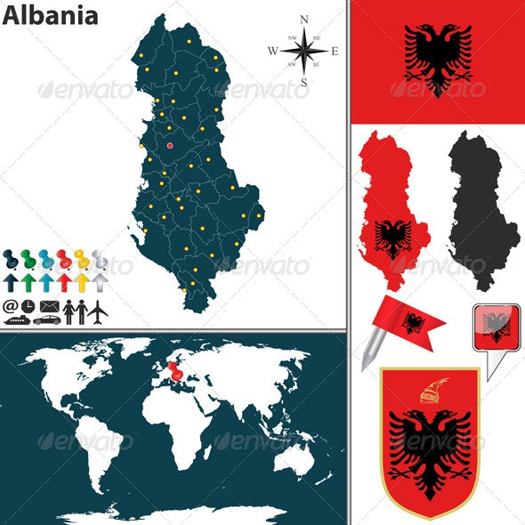 Map of Albania - Travel Conceptual