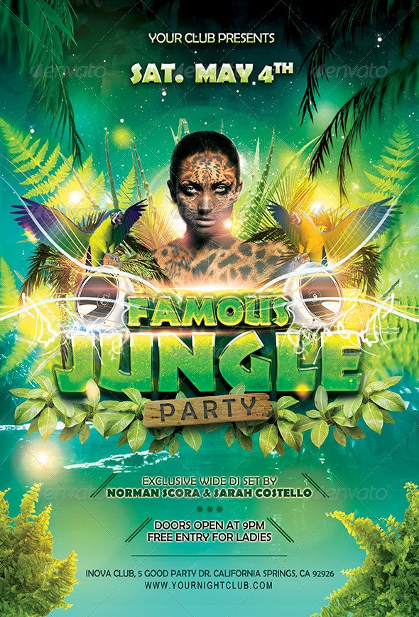 Famous Jungle Party Flyer - Clubs & Parties Events