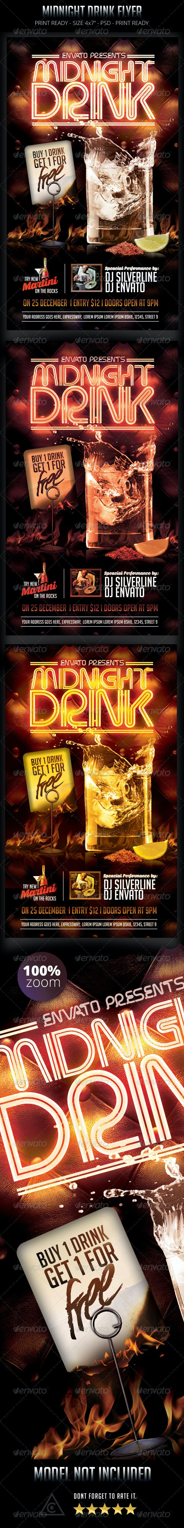 Midnight Drink Flyer - Clubs & Parties Events