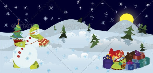 Snowman and Christmas tree in the pot banner - Characters Vectors